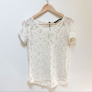 Zara lace off white short sleeves blouse S